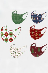Non-medicial Christmas 6 Colors Cotton Washable Face Mask