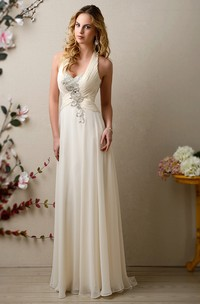 Halter Chiffon Wedding Dress With Ruched Bodice And Pearls