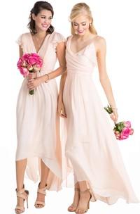 High-Low Cap Sleeve Ruched V-Neck Chiffon Muti-Color Convertible Bridesmaid Dress