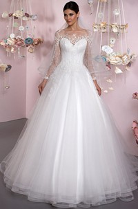 Ball Gown Bateau Neck Appliqued Long Sleeve Tulle Wedding Dress