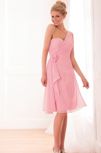 One-shoulder Knee-length Dress with Ruffles and Flower