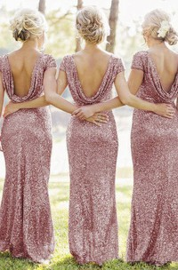 Cap-sleeved Long Sheath Dress with Allover Sequins