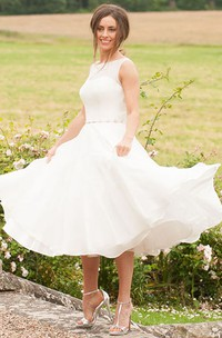Maxi High Neck Jeweled Chiffon Wedding Dress With Appliques And Illusion