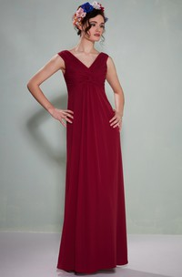 Ruched Sleeveless V-Neck Empire Chiffon Bridesmaid Dress