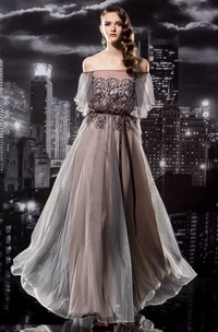 A-Line Off-The-Shoulder Short Sleeve Tulle Illusion Dress With Appliques And Pleats