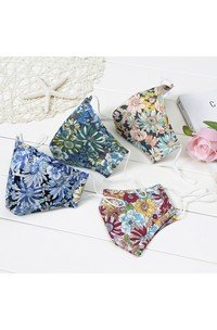 Non-medicial Floral Printed Cotton Washable Face Mask In 4 Colors