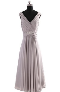 Sleeveless V-neck Empire Chiffon Dress With Ruffles