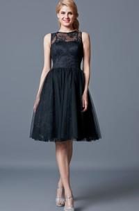 Illusion Neck Lace Knee Length Bridesmaid Dress