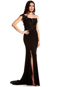 Sheath One-Shoulder Sleeveless Long Split-Front Jersey Prom Dress With Zipper Back And Appliques