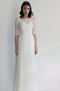 Ethereal Sheath Chiffon Bateau Half-Sleeve Pleated Long Bridal Gown