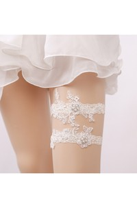 Princess Beige Pearl Lace Applique Stretch Socks Cover Within 16-23inch