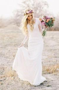 Sheath V-Neck Long Illusion Sleeve Court Train Lace Wedding Dress
