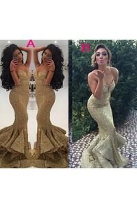 Sleeveless Spaghetti Sweetheart Mermaid Trumpet Sequins Zipper Dress