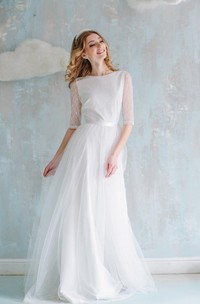 A-Line Long Tulle Lace Satin Dress With Flower Button