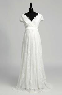 A Line Beach Floor-length Bow Sash Ribbon Lace Maternity Wedding Dress