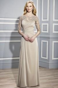 Bateau Neck Appliqued Half Sleeve Jersey Formal Dress
