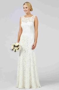 Sheath Sleeveless Scoop-Neck Floor-Length Lace Wedding Dress With V Back