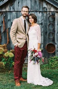 Sheath Off-the-shoulder Lace Zipper Wedding Dress