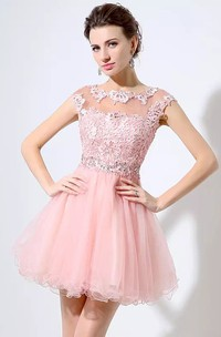 A-line Short Mini Short Sleeve Bateau Beading Pleats Lace Tulle Homecoming Dress