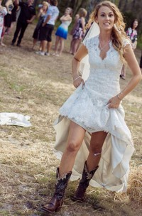Country Sheath V-Neck Cap Sleeve Court Train Lace Wedding Dress