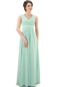 Sleeveless V-Neck Chiffon Bridesmaid Dress