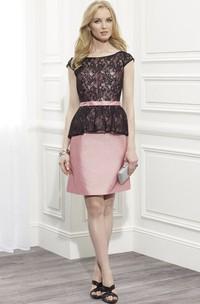 Pencil Short Lace Cap Sleeve Scoop Neck Satin Formal Dress