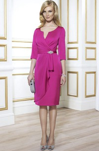 Pencil Knee-Length Draped Notched Half Sleeve Jersey Mother Of The Bride Dress