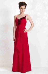 Sheath Sleeveless Floral Floor-Length Spaghetti Chiffon Bridesmaid Dress With Draping