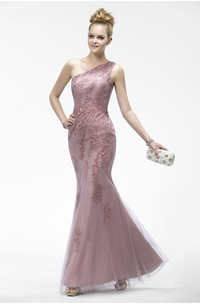 Mermaid One Shoulder Appliqued Elegant Sleeveless Tulle Dress With Zipper