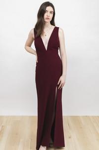 Front Split Sexy Sleeveless Plunging Neckline And Deep V-back Burgundy Dress