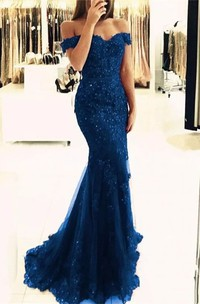 Cap Short Sleeve Off-the-shoulder Mermaid Trumpet Lace Tulle Zipper Dress
