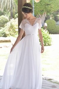 Short Sleeve Lace Chiffon Pleated Wedding Dress With Deep-V Back