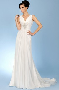 V-Neck Long Ruched Chiffon Wedding Dress With Court Train And V Back