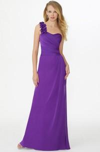 Floral Sleeveless One-Shoulder Chiffon Bridesmaid Dress