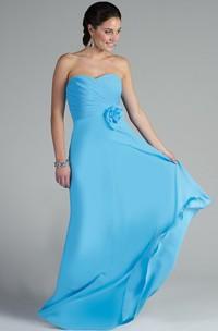 Sweetheart A-line Chiffon Long Dress With Waist Flower