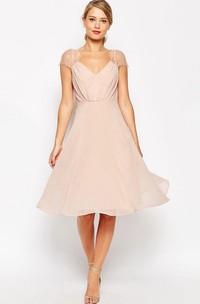 A-Line Knee-Length Ruched Cap Sleeve V-Neck Chiffon Bridesmaid Dress