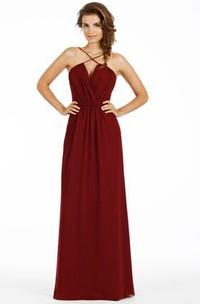 Ruched Spaghetti Chiffon Bridesmaid Dress With Low-V Back