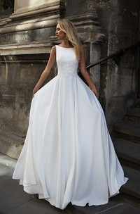 Simple Satin Bataeu-neck Sleeveless Long Bridal Gown with Applique