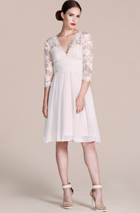 3/4 Sleeve V-neck A-line Lace Chiffon Short Knee-length Wedding Dress