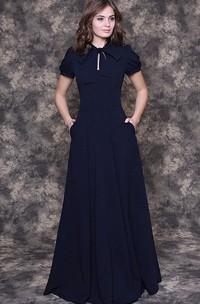 A-Line Chiffon Floor-Length Dress With Puff Short Sleeve
