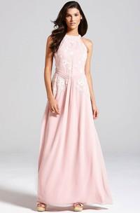 Floor-Length Floral Sleeveless High Neck Chiffon Bridesmaid Dress