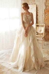 Floor-Length Organza Taffeta Floral Lace Embroidered Wedding Dress