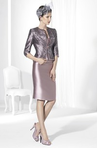 3-4-Sleeve Jacket Knee-Length Satin Prom Dress With Appliques And Split Back