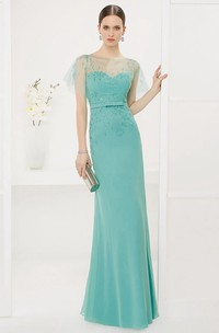 Bateau Sheath Chiffon Long Prom Dress With Tulle Batwing Sleeve And Crystals
