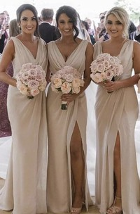 Deep V-neck Sexy Sleeveless Sheath Bridesmaid Dress With Front Split And Ruching