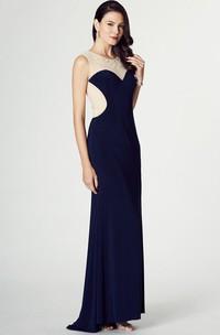 Sheath Long Scoop Beaded Sleeveless Chiffon Prom Dress With Illusion Back And Brush Train