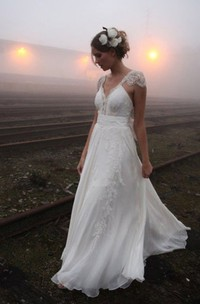 A Line V-neck Chiffon Lace Open Back Wedding Gown